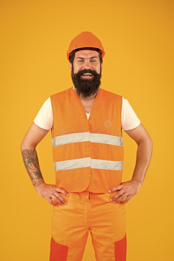 Engineering career concept. Architect builder engineer. Labor day. Safety apparel for construction industry. Bearded stock photos