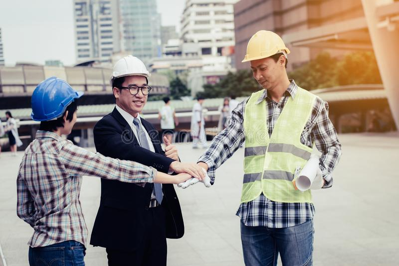 engineering construction teamwork concept : professional engineer work industrial project site royalty free stock photos