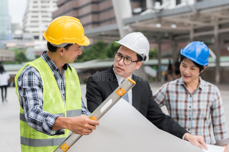 engineering construction teamwork concept : professional engineer work industrial project site royalty free stock photo