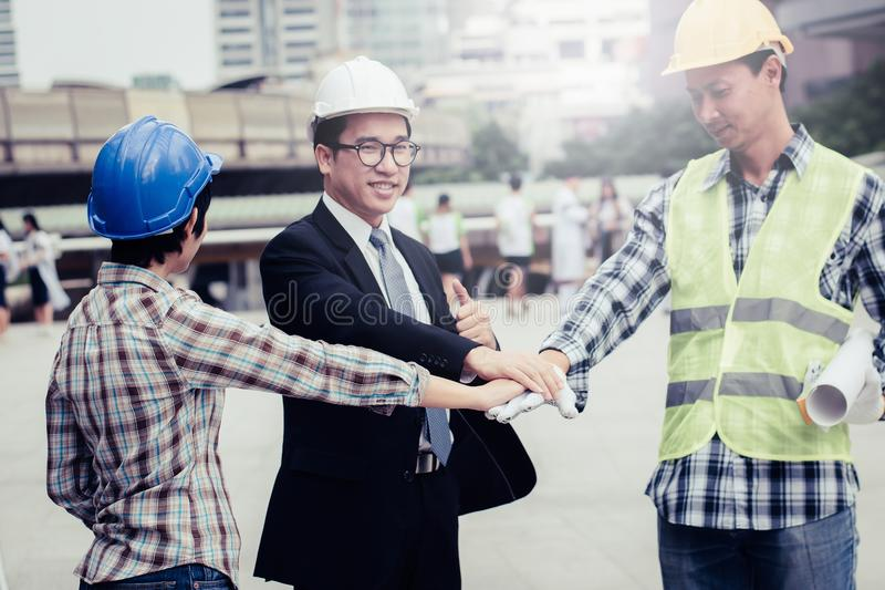 engineering construction teamwork concept : professional engineer work industrial project site royalty free stock photography