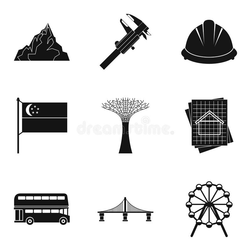 Engineering department icons set, simple style vector illustration