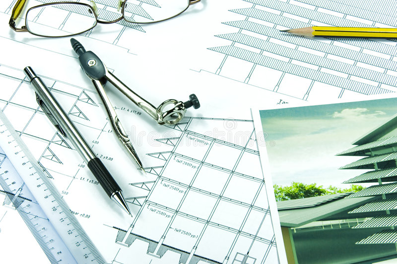 Engineering Design and Drawing stock photo