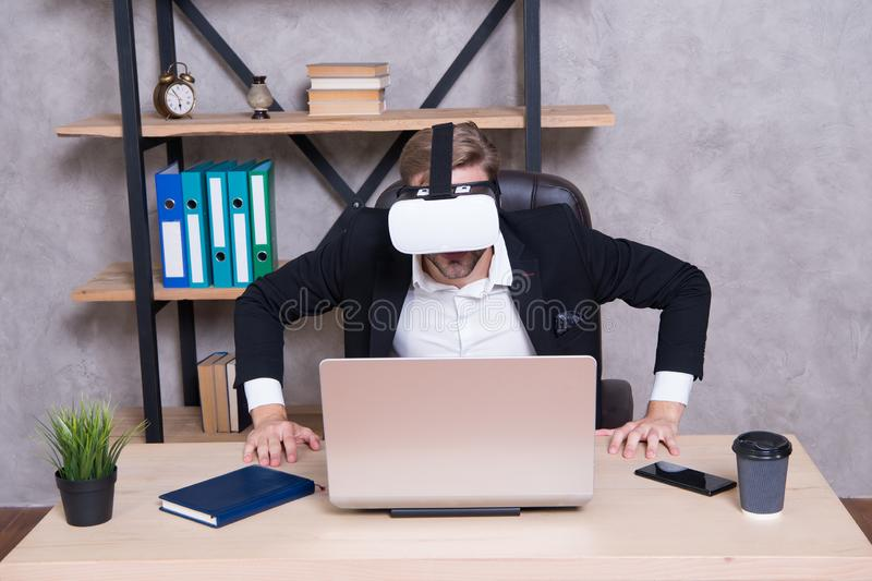 Engineering and design. Modern gadget. Business implement modern technology. Virtual work space. Businessman explore. Virtual reality. Interact in virtual royalty free stock images