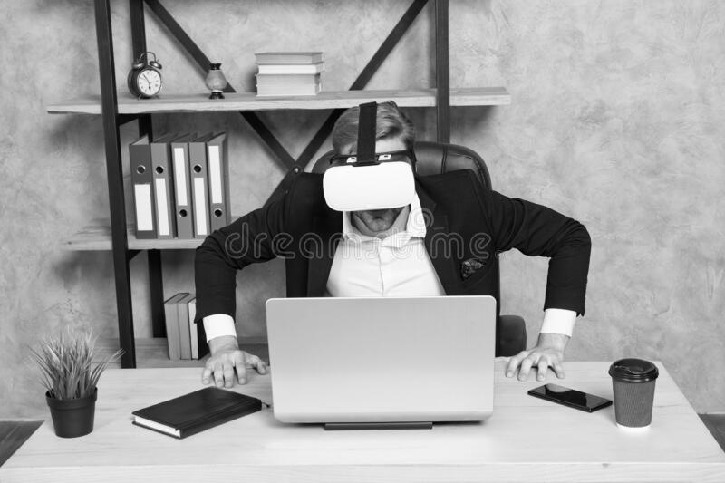 Engineering and design. Modern gadget. Business implement modern technology. Virtual work space. Businessman explore stock image