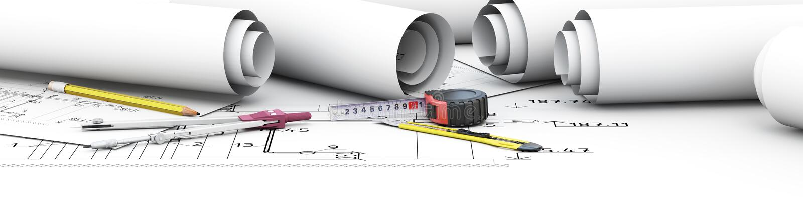 Engineering design tools architect. stock photo