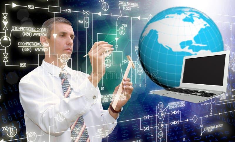 Engineering designing. Cosmic telecommunications technology.Connection stock image
