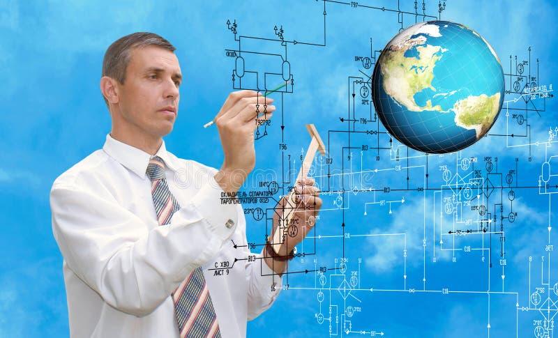Engineering designing.Engineer. Creation digital communication technology royalty free stock photography