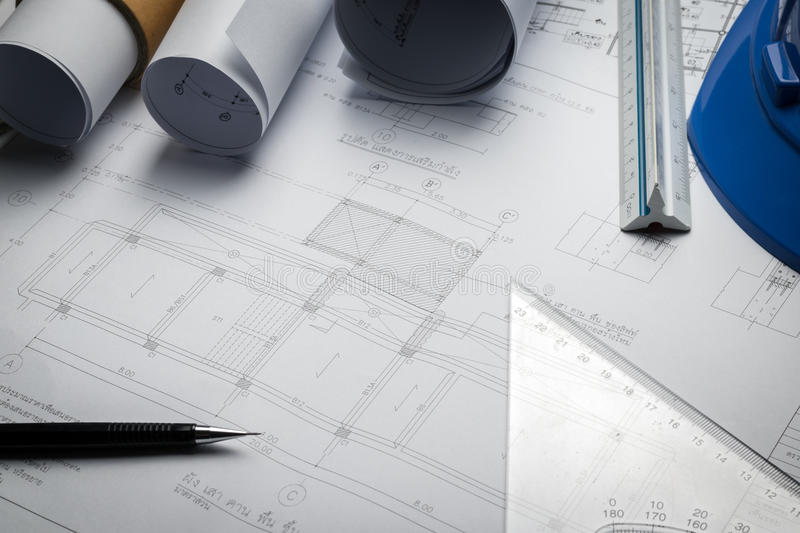 Engineering diagram blueprint paper drafting project sketch stock image