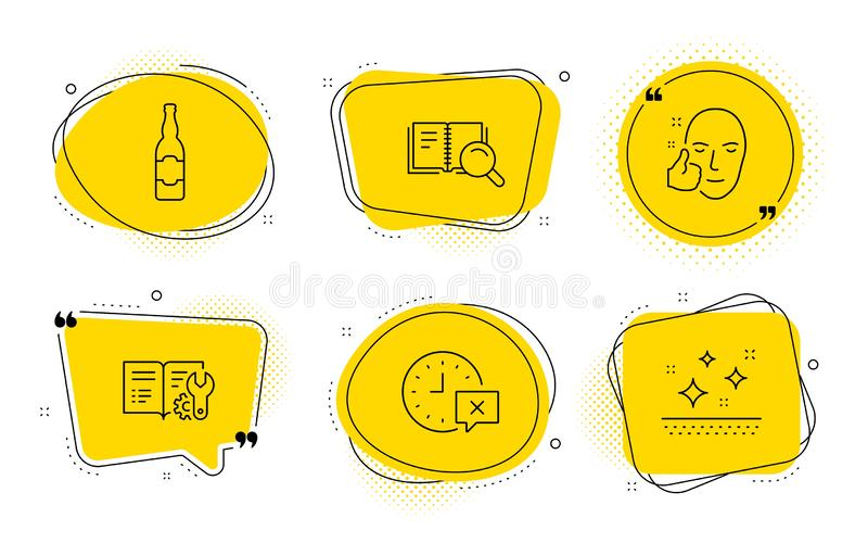 Beer bottle, Search book and Healthy face icons set. Engineering documentation, Time and Clean skin signs. Vector. Engineering documentation, Time and Clean skin royalty free illustration