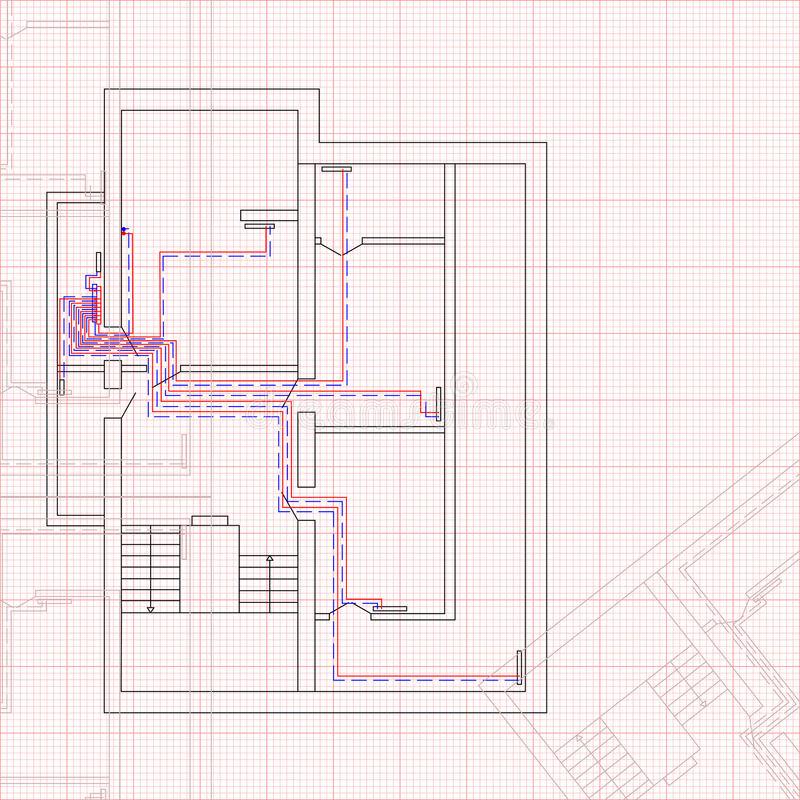 Engineering draft of heating system the house concept of engineering draft of heating system the house concept of construction blueprint vector illustration sketch technical drawings malvernweather Image collections