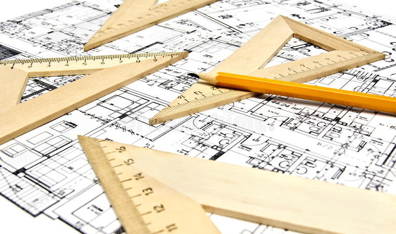 Engineering drawing equipment royalty free stock photos