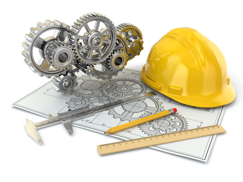 Engineering drawing. Gear, hardhat, pencil and draft. vector illustration