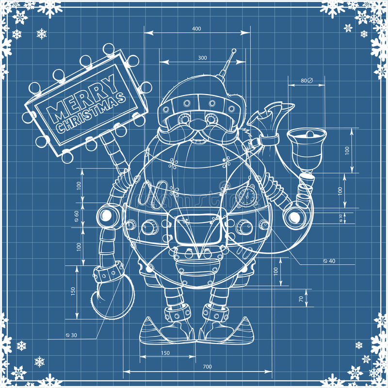 Engineering drawing robot santa on blue paper vector illustration