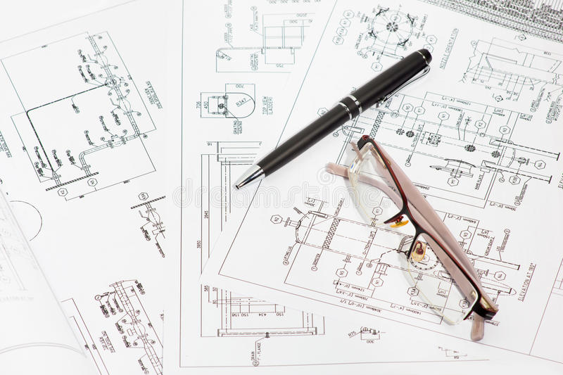 Engineering drawings. royalty free stock photography