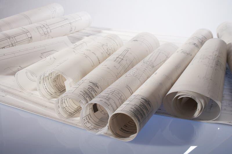 Engineering drawings royalty free stock photos