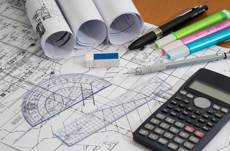 Engineering Measuring Instruments : Engineering drawings with drafting pencil highlighters