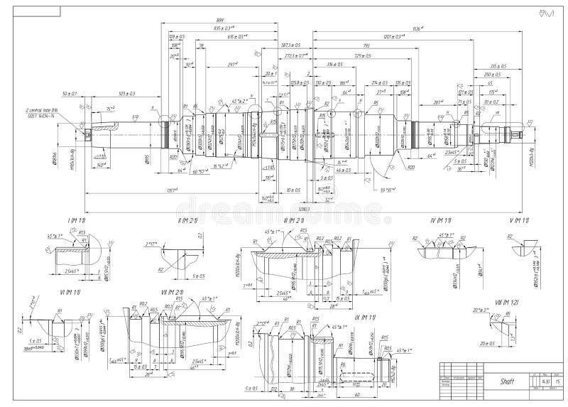 Engineering drawings of the shaft. Vector illustration vector illustration