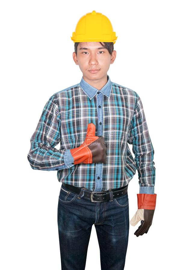Engineering hand thumb up on white background stock photo