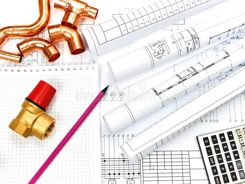 Engineering heating. Concept Heating. Project of heating for house. Engineering Concept Project of heating for house. thermostatic valve, copper fitting stock photo