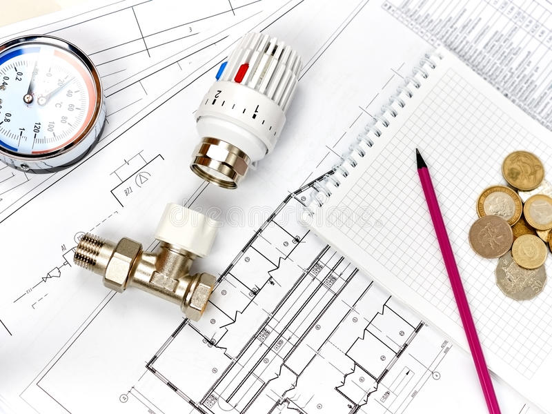 Engineering heating. Concept Heating. Project of heating for house. Engineering Concept Project of heating for house. thermostatic valve, copper fitting stock image