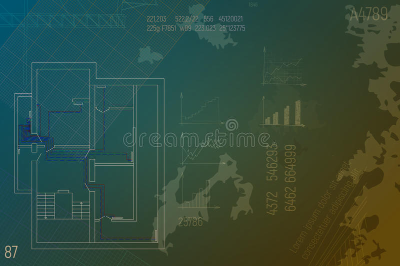 Engineering HVAC project. Heating blueprint. Architecture sketch with text, graphic and line. royalty free illustration