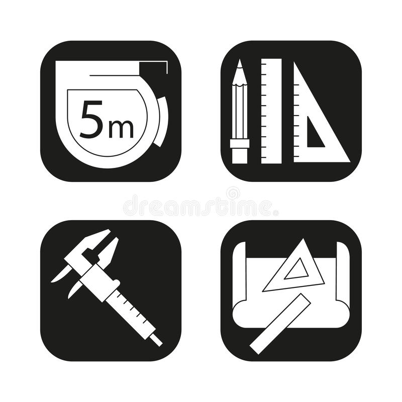 Engineering icons set.Caliper, pencil and ruler, measuring tape, drawing rulers symbol. Vector white silhouettes. Illustrations in black squares stock illustration
