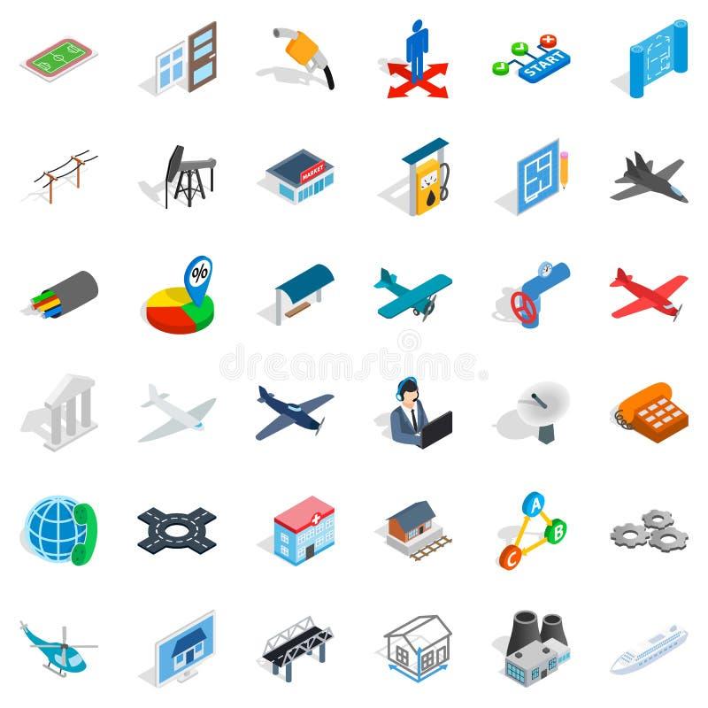 Engineering icons set, isometric style. Engineering icons set. Isometric style of 36 engineering vector icons for web isolated on white background stock illustration