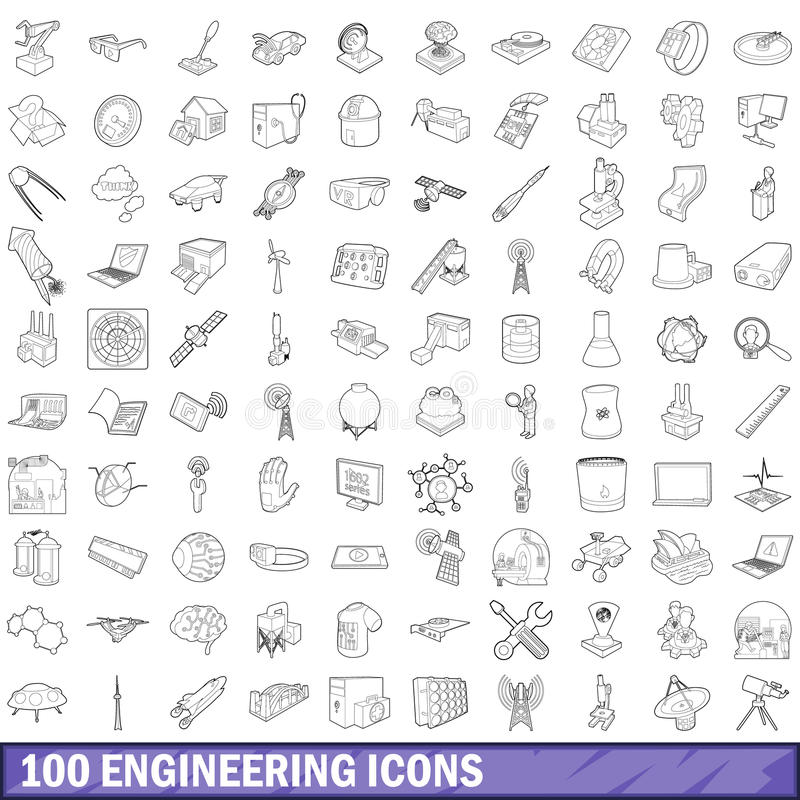100 engineering icons set, outline style. 100 engineering icons set in outline style for any design vector illustration vector illustration