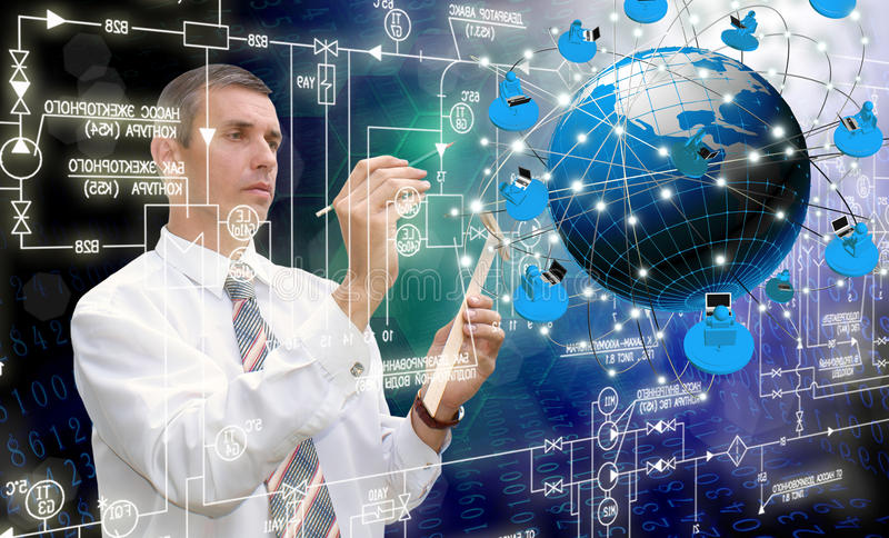 Engineering Internet technologies. Concept of global business.Designing stock images