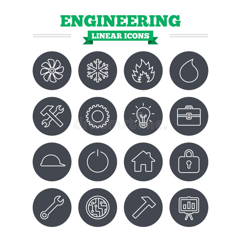 Engineering linear icons set. Thin outline signs. Engineering linear icons set. Ventilation, heat and air conditioning symbols. Water supply, repair service and royalty free illustration