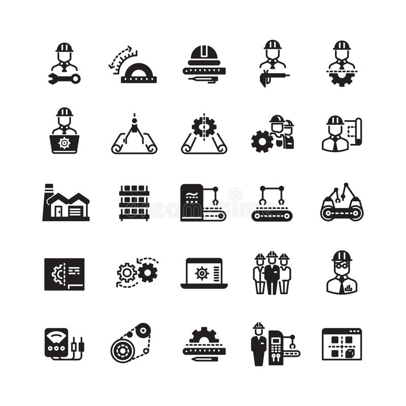 Engineering manufacturing industrial vector icon set royalty free illustration