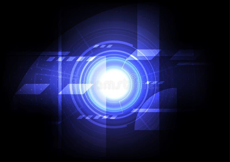 Engineering mechanic abstract background, digital technology computer online communication, blue energy power hologram stock illustration