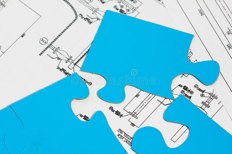 Engineering puzzle. stock photos