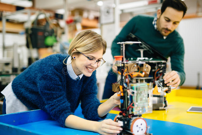 Engineering and robotics student royalty free stock photos