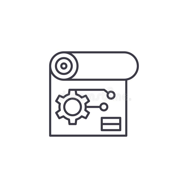 Engineering scheme linear icon concept. Engineering scheme line vector sign, symbol, illustration. Engineering scheme line icon, vector illustration royalty free illustration