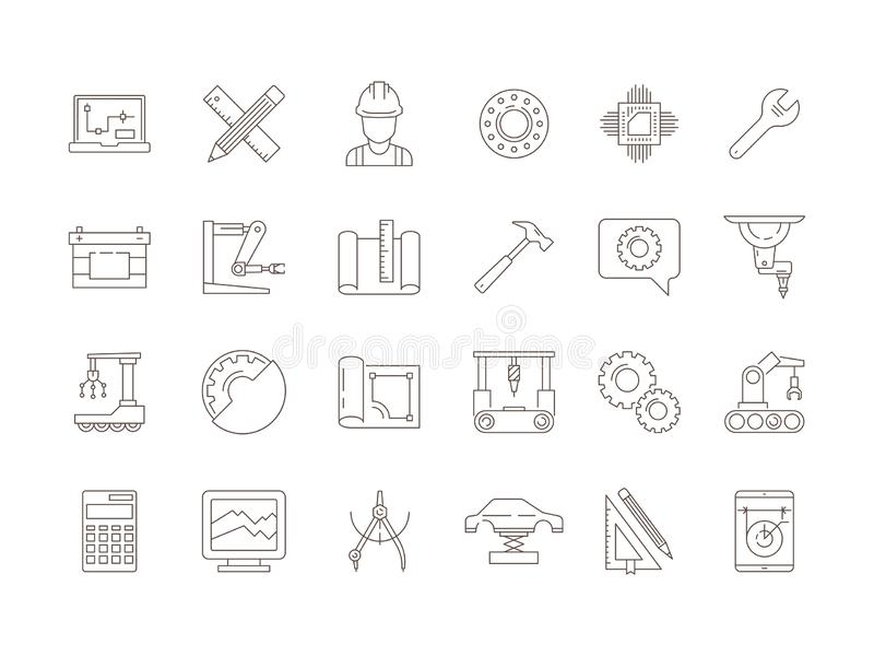 Engineering symbols. Manufacturing civil chip mechanical electrical tools vector thin line icon collection. Illustration of mechanical tool and engineering vector illustration