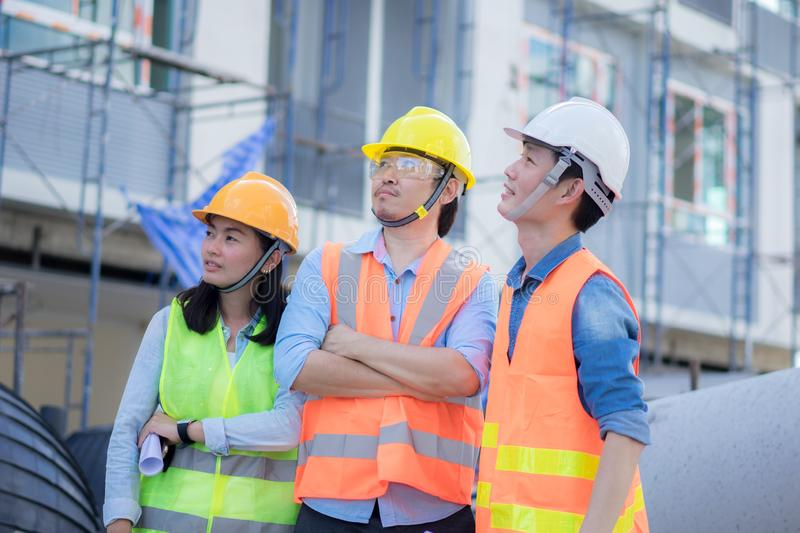 Engineering team work at construction. Industry and worker for business concept stock images