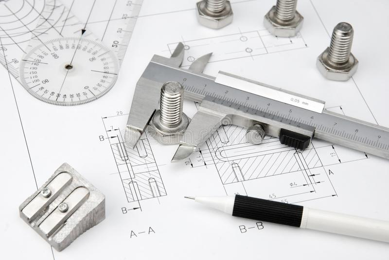 Engineering Tools On Technical Drawing Stock Photo - Image of bolt ...
