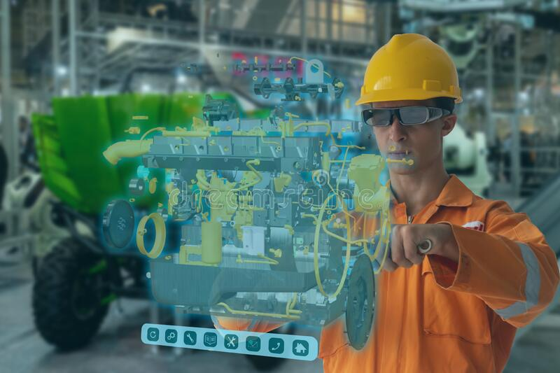Engineering use augmented mixed virtual reality integrate artificial intelligence combine deep, machine learning, digital twin, 5G royalty free stock photos