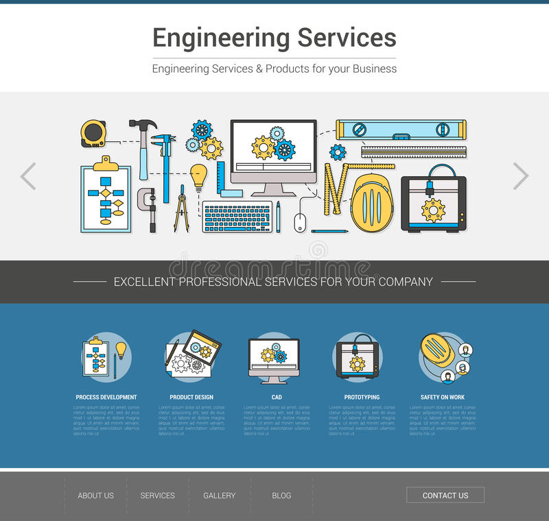 Engineering web template stock vector. Illustration of engineering ...