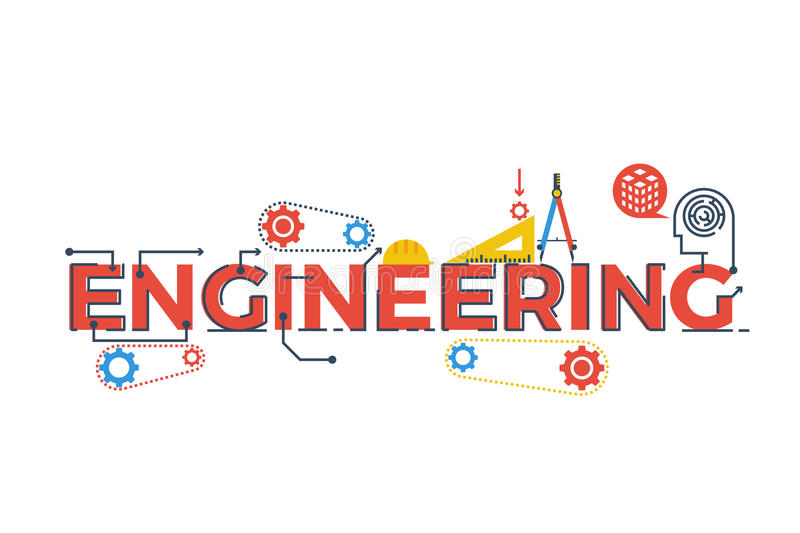 Engineering word illustration royalty free stock photos