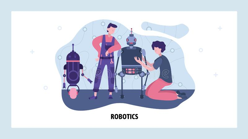Engineers build and repair robot. Future android robotics technology. Construct a robot in garage. Vector web site. Design template. Landing page website royalty free illustration