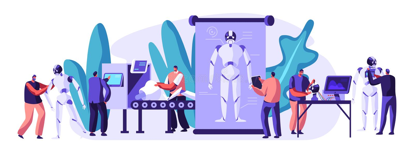 Engineers Characters Making and Programming Robots. Robotics Hardware and Software Engineering in Laboratory with Hi-Tech. Equipment. Artificial Intelligence vector illustration