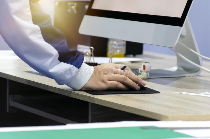 Engineers checked with detailed documentation Work using a computer. royalty free stock image