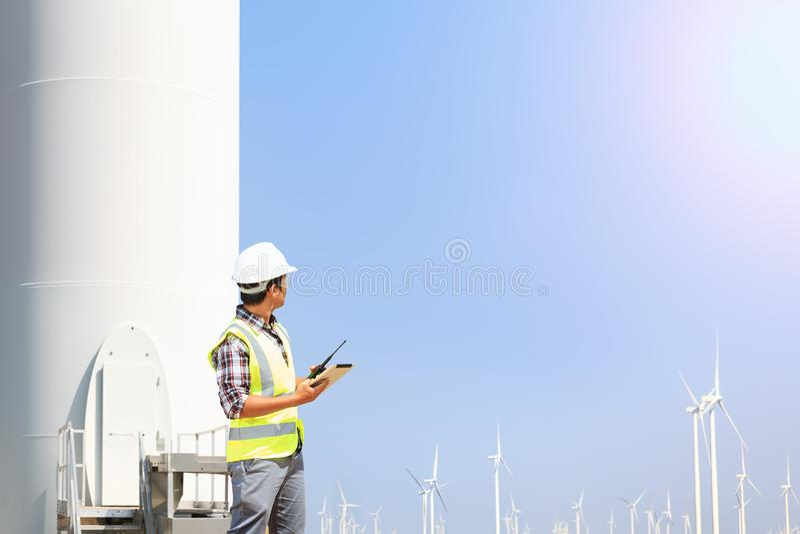 Engineers wind turbine. stock photos