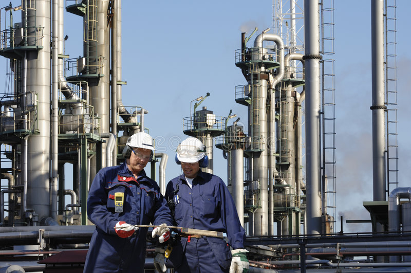 Engineers oil, gas and power stock image