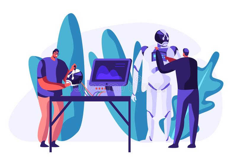 Engineers Scientists Male Characters Making and Programming Huge Robot in Science Laboratory. Robotics Hardware and Software. Science Engineering. Development stock illustration