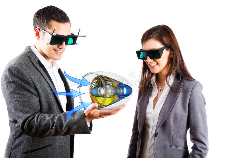 Engineers Wearing 3d Vr Glasses stock photography