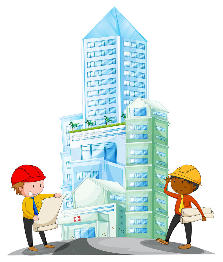 Engineers working in the construction site royalty free illustration