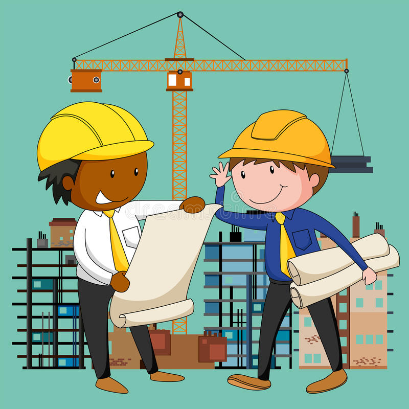 Engineers working at the construction site vector illustration